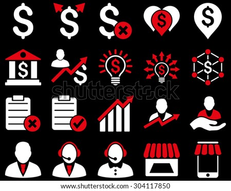 Trade business and bank service icon set. These flat bicolor icons use red and white colors. Images are isolated on a black background. Angles are rounded. - stock vector