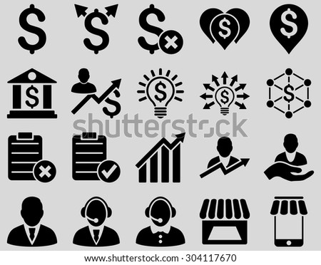 Trade business and bank service icon set. These flat icons use black color. Images are isolated on a light gray background. Angles are rounded. - stock vector