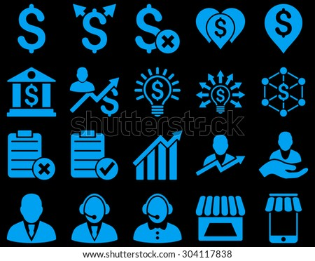 Trade business and bank service icon set. These flat icons use blue color. Images are isolated on a black background. Angles are rounded. - stock vector