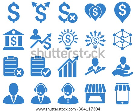 Trade business and bank service icon set. These flat icons use cobalt color. Images are isolated on a white background. Angles are rounded. - stock vector