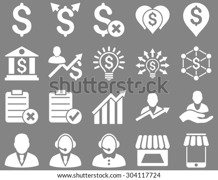 Trade business and bank service icon set. These flat icons use white color. Images are isolated on a gray background. Angles are rounded. - stock vector