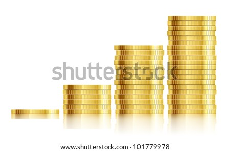 trade diagram with golden coins money vector illustration EPS10. Transparent objects and opacity masks used for shadows and lights drawing - stock vector