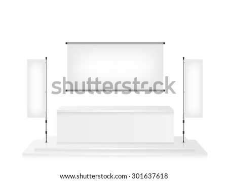 Trade exhibition stand and flag banner illustration - stock vector