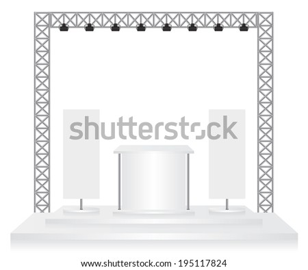 Trade exhibition stand and flags on white background