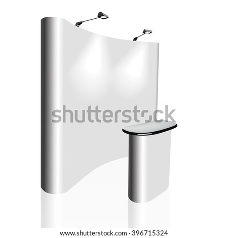 Trade exhibition stand, Exhibition round, 3D rendering visualization of exhibition equipment, Advertising space on a white background, with space for text ads, vector