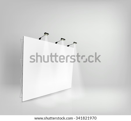 Trade exhibition stand, Exhibition Stand round, 3D rendering visualization of exhibition equipment, a set of stands, Advertising space on a white background, with space for text ads, vector - stock vector