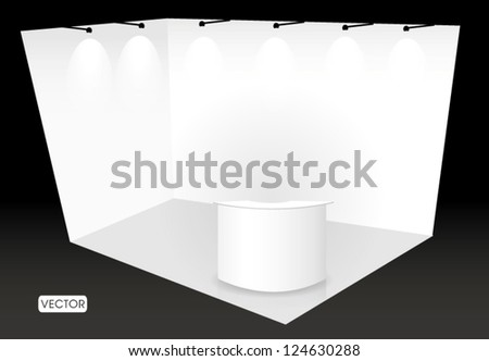 trade show booth with counter - stock vector
