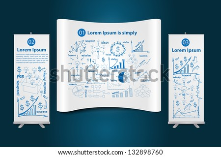 Trade show booth with roll up banner stand display, with drawing diagram business strategy plan concept idea, Vector illustration Modern template Design - stock vector