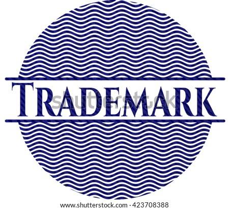 Trademark emblem with denim high quality background - stock vector