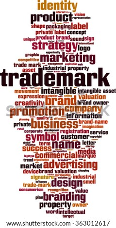 Trademark word cloud concept. Vector illustration