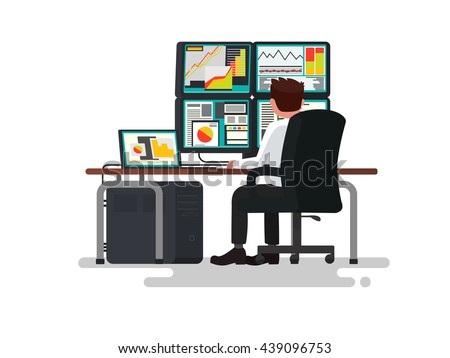Trader at a desk. Vector illustration of a flat design - stock vector