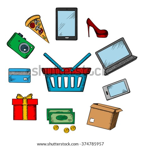 Trading and online shopping icons with smartphone, tablet and laptop, cash, credit card, gift, shoe, camera and pizza