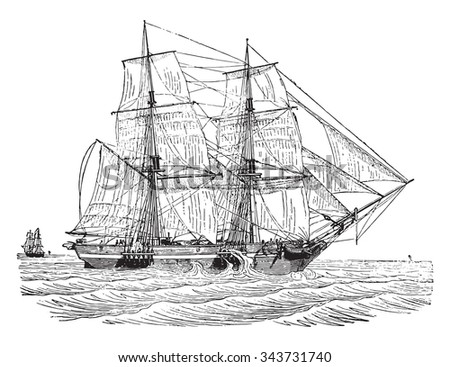 Trading brig as close to the wind, vintage engraved illustration. Industrial encyclopedia E.-O. Lami - 1875. - stock vector