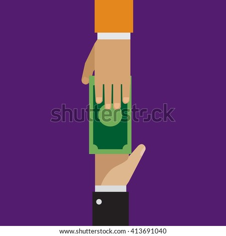 Trading, loaning money, corruption in flat style  - stock vector