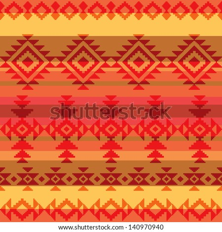 Traditional american indian style seamless pattern - stock vector