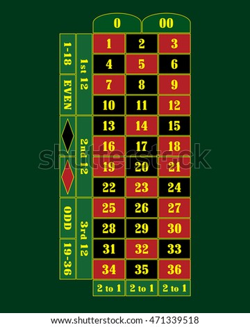 Traditional American Roulette Table vector illustration