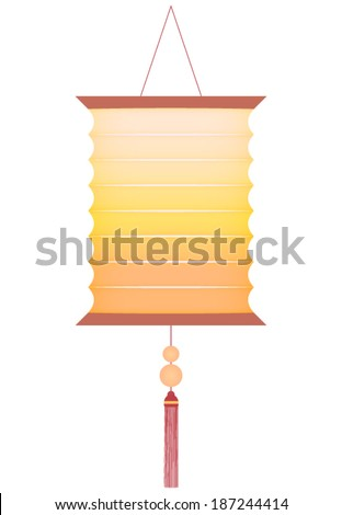 Traditional and decorative Chinese lantern isolated on white  - stock vector