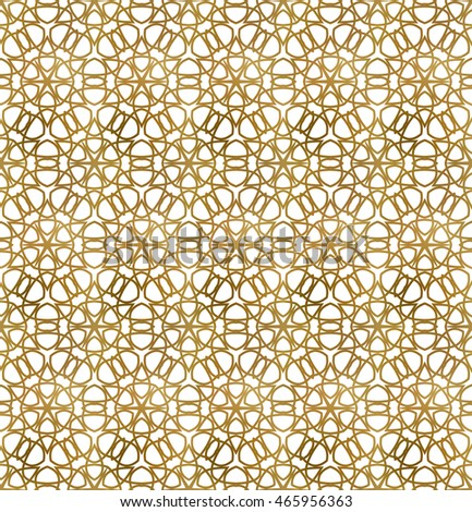 Traditional arabesque seamless pattern. Repeatable background of golden lines.