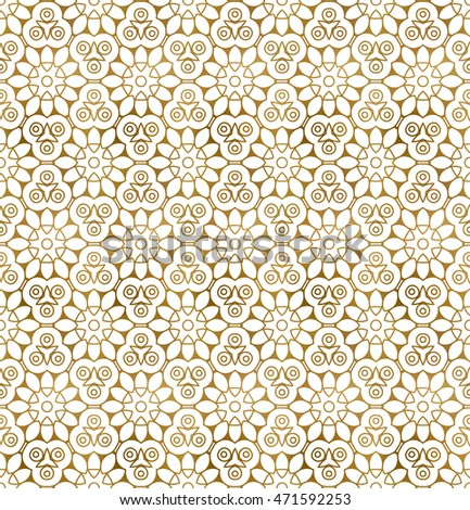 Traditional arabesque seamless pattern. Repeatable background of golden shapes and lines.