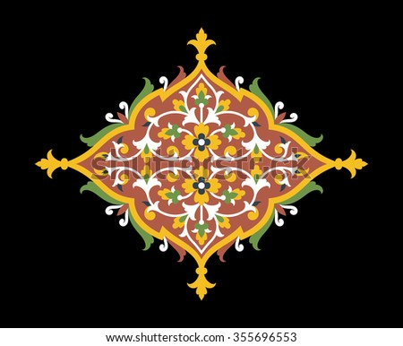 Traditional Arabic Floral Ornament. Green, Yellow, red, black. Islamic Design.
