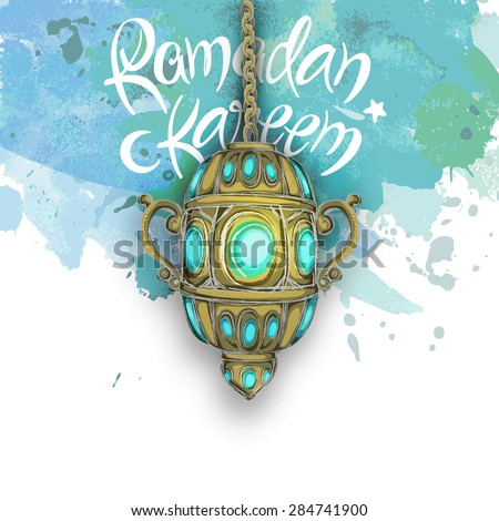 Traditional Arabic lantern on grungy sky blue and white background for holy month of Muslim community, Ramadan Kareem celebration. - stock vector