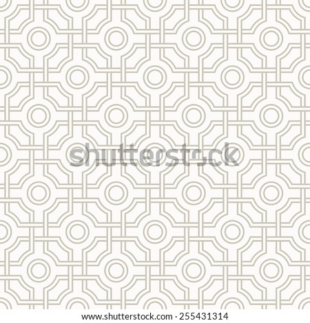 Traditional arabic tangled pattern in light sand colors. Seamless vector background.   - stock vector