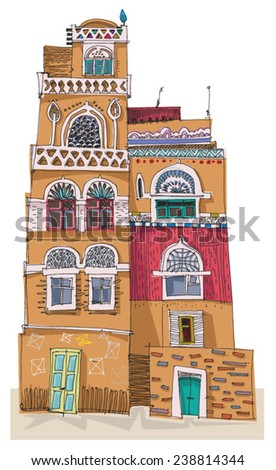 Traditional architecture in mountain village, Yemen - cartoon - stock vector
