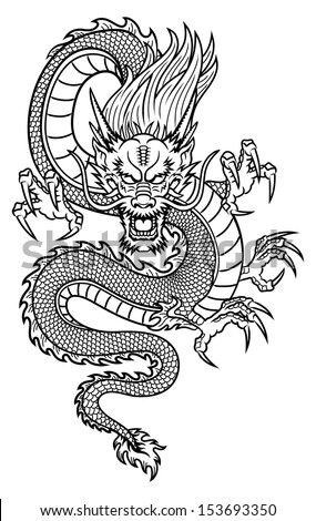 Traditional Asian Dragon. This is vector illustration ideal for a mascot and tattoo or T-shirt graphic. - stock vector