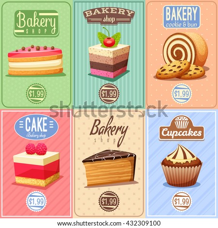 Traditional bakery confectionary 6 vintage mini posters composition banner with cupcakes caked and chocolate cookies isolated vector illustration - stock vector