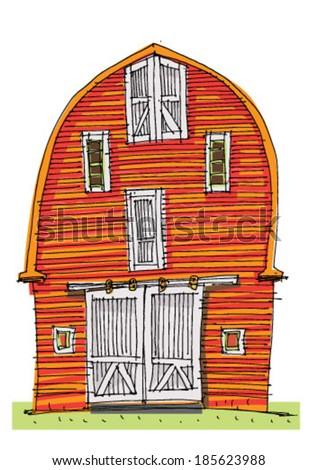 Traditional Barn Cartoon Stock Vector 185624018