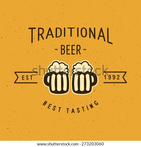 Traditional Beer Vintage Stylized Lettering Logo For Beer House, Brewing Company, Pub, Bar
