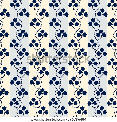 Traditional block printed ornament. Seamless floral pattern, handmade Russian folk motif with blue clover on light gray and ecru stripped background. Textile print. - stock vector