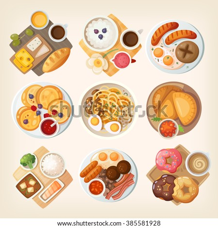 Traditional breakfast dishes from different countries and places: Israel, Iceland, Germany, Russia, Korea, Venezuela, Japan, Ireland, USA. Vector illustrations. - stock vector