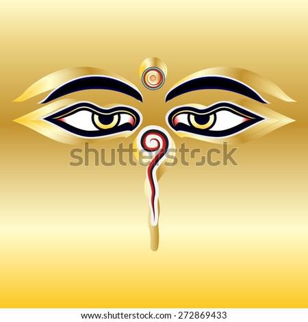 Traditional Buddha Eyes Symbol Wisdom Eyes Stock Vector 272869433