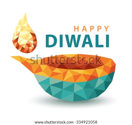 Traditional celebration of Hindu festival happy diwali lamp. low polygon colorful design isolated on white background. Vector illustration - stock vector