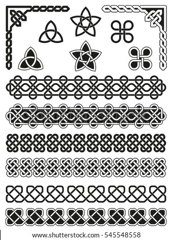 Traditional Celtic knotted, weaved and braided elements with borders, corners and embellishments