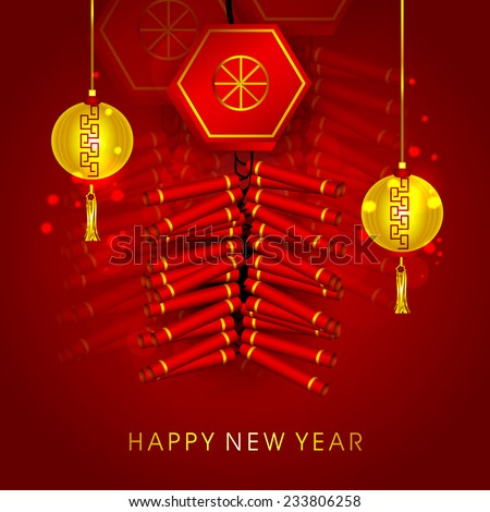 Traditional Chinese knot with golden lanterns hanging on shiny red background for Happy New Year celebrations. - stock vector