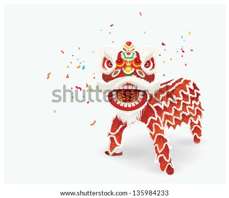 Traditional Chinese lion dance festival background.