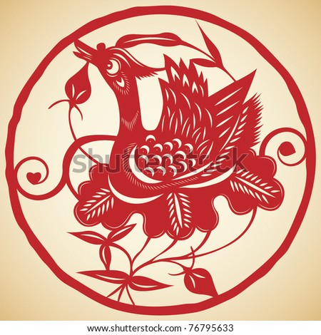 Traditional Chinese paper cutting. Duck. Vector
