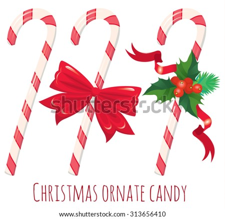 Traditional christmas candy cane with decor on white - vector illustration - stock vector