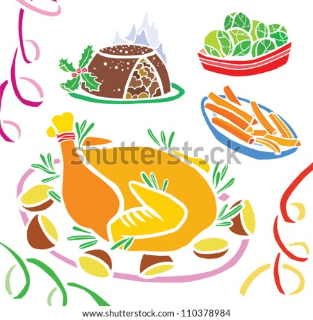 Traditional Christmas Dinner with Decorations - stock vector