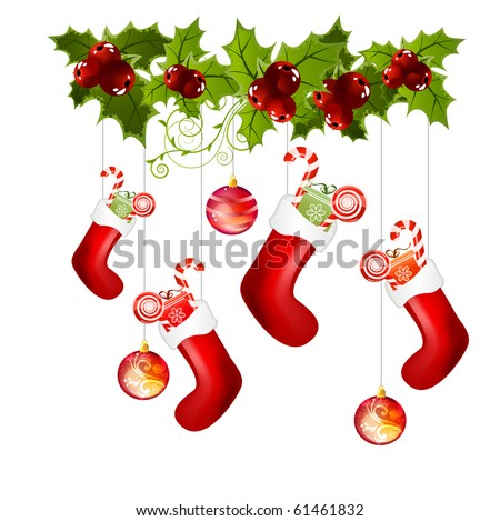 Traditional christmas socks with gifts - stock vector