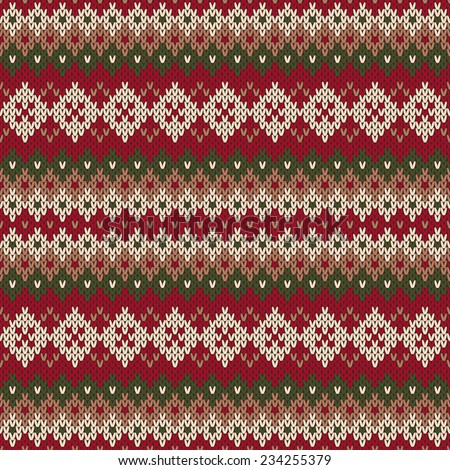 Traditional Christmas Sweater Design Seamless Knitted Stock Vector ...