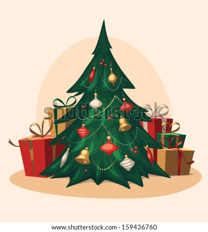 Traditional Christmas tree. Cartoon vector illustration. - stock vector