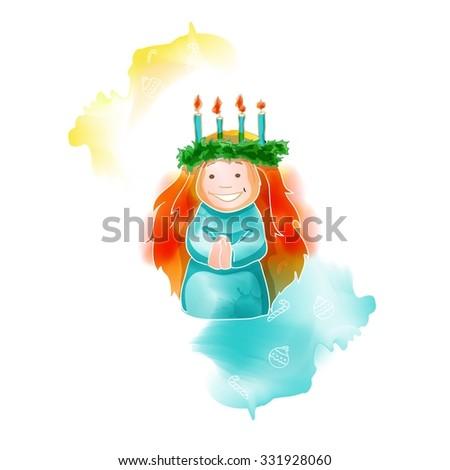 Traditional Christmas watercolor santa lucia greeting card, vector illustration - stock vector