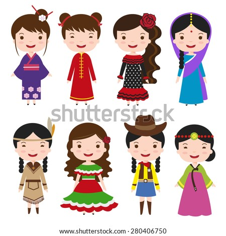 traditional costumes character of the world, dress girls in different national costumes - stock vector