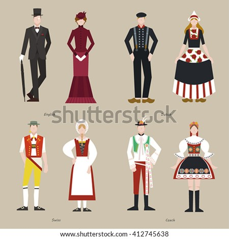 Traditional costumes of the world vector design - stock vector