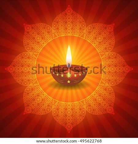 Traditional Diwali Lamps On Decorative Lotus Design