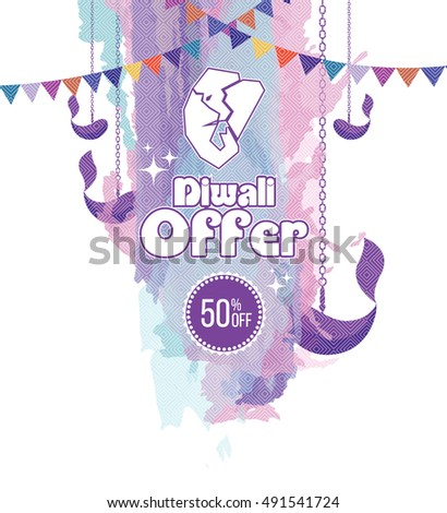 Traditional Diwali Offer Banner Design Template with Lord Ganesha, Watercolor Background, Lamps & Chain Flags - Abstract Diwali Festival Offer Banner Design with Watercolor Backgroung 50% Discount Tag
