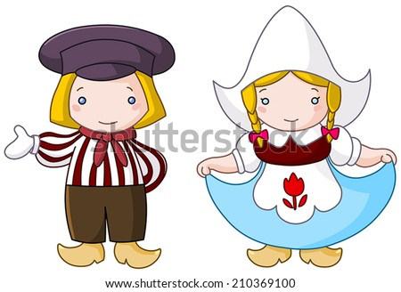 Traditional Dutch couple cartoon - stock vector